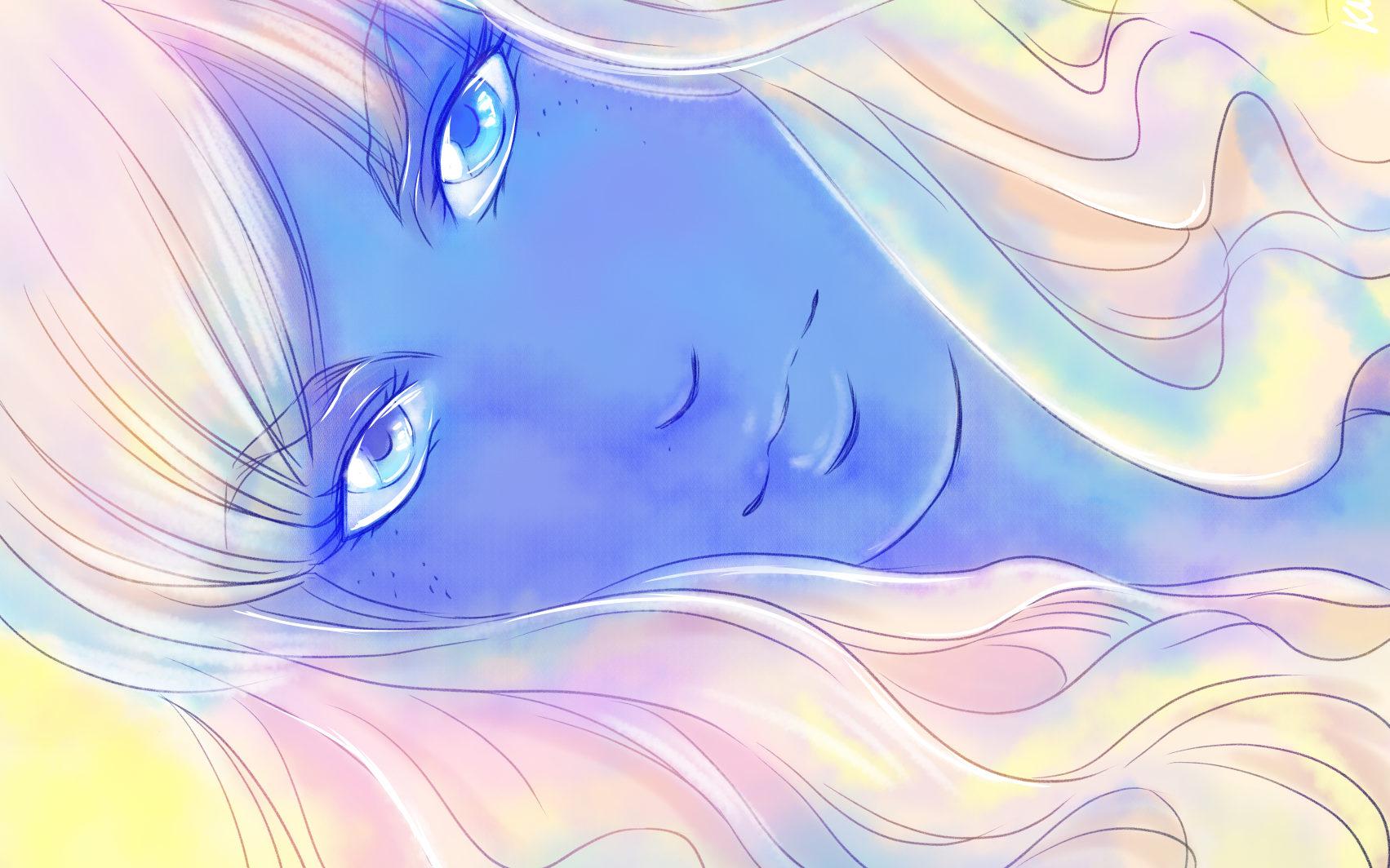 femme à la peau bleue